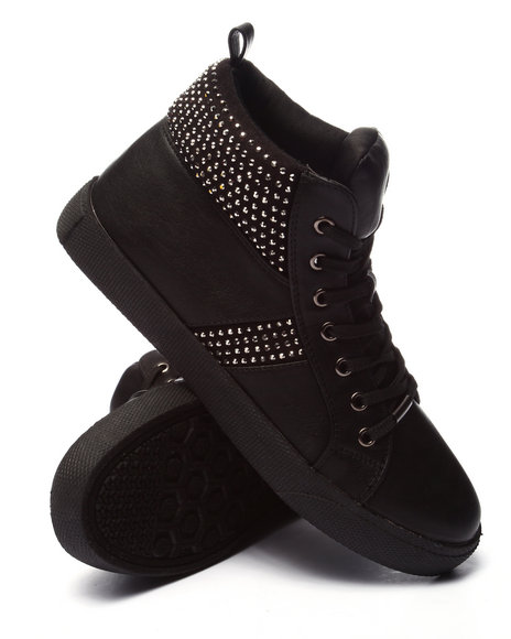 Ur-ID 224234 Fashion Lab - Women Black Tylar Bling High Top Sneaker