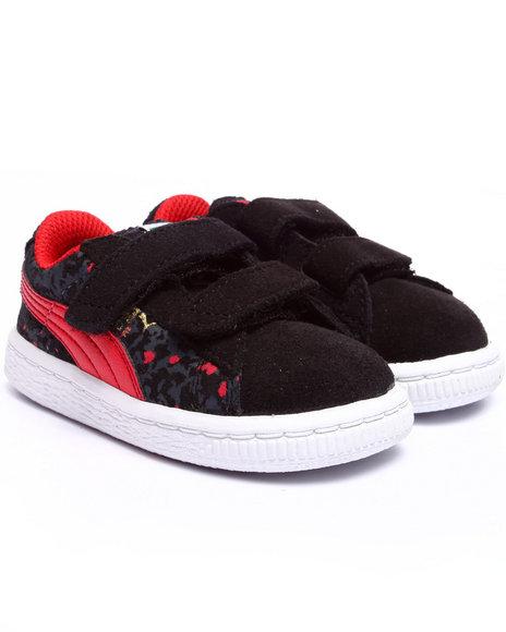 Puma - Boys Black Suede Camo Kids Sneakers (5-10)