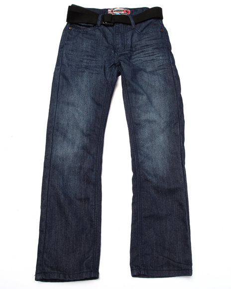 Monarchy - Boys Dark Wash Belted Mercerized Flap Pocket Jeans (8-20)