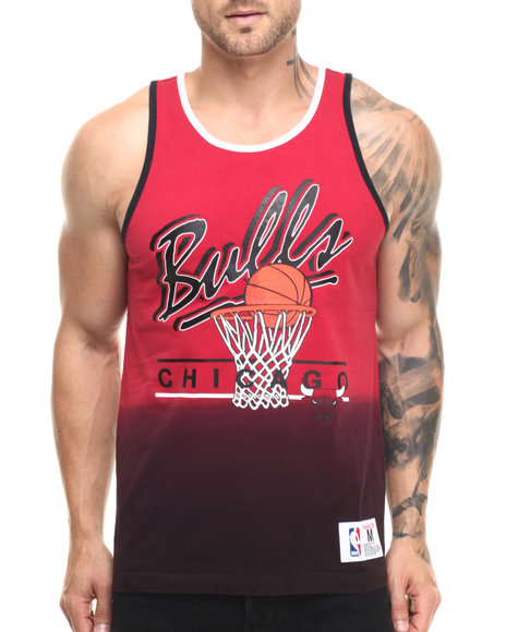 Mitchell & Ness - Men Red Chicago Bulls Color Fade Tank