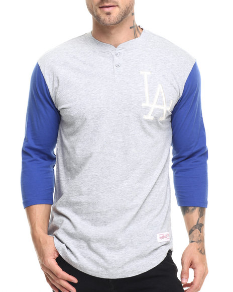 Ur-ID 224165 Mitchell & Ness - Men Grey Los Angeles Dodgers In The Clutch Henley Tee