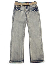 Sizes 8-20 - Big Kids - BELTED LIGHTENING WASH FLAP POCKET JEANS (8-20)