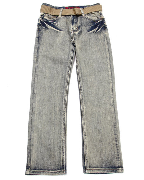 Monarchy - Boys Light Wash Belted Lightening Wash Flap Pocket Jeans (8-20)
