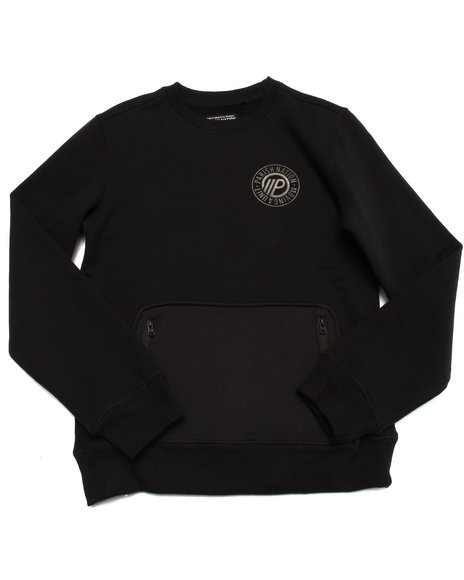 Parish - Boys Black Neoprene Pocket Pullover Sweatshirt (8-20)