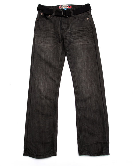 Monarchy - Boys Grey Belted Mercerized Jeans (8-20)