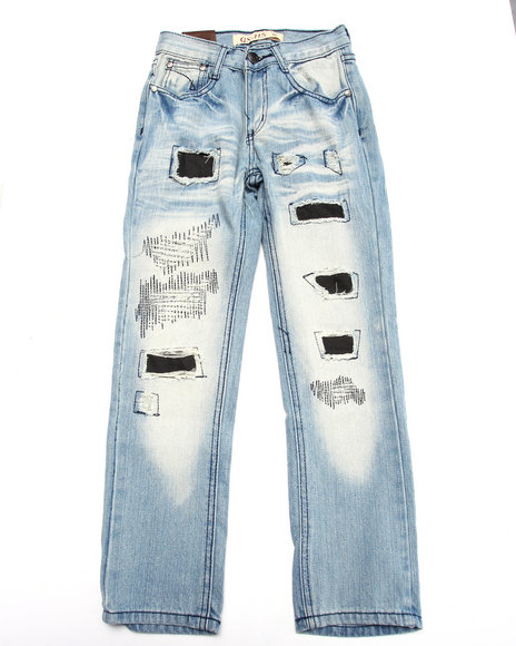 Arcade Styles - Boys Light Wash Rip N' Repair Jeans (8-20)