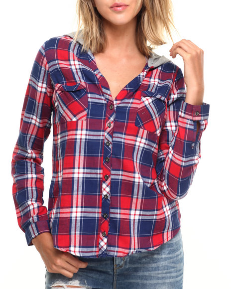Ur-ID 224286 Fashion Lab - Women Red Plaid Button Up Long Sleeve W/ Knit Hood