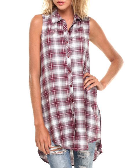Ur-ID 224288 Fashion Lab - Women Light Grey,Maroon Sleeveless Plaid Button Up W/ Side Slits