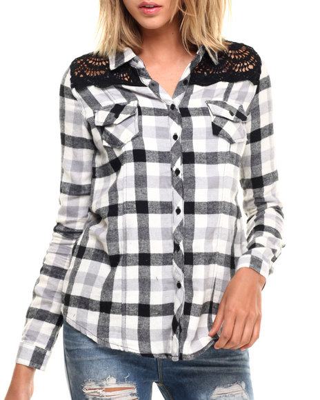 Ur-ID 224289 Fashion Lab - Women Black Woven Plaid Flannel W/ Front And Back Crochet Lace Detail