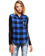 Women - Plaid Illusion Mesh Sleeve Hi Low Hem Button Up