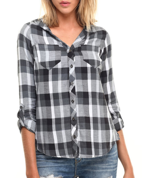 Fashion Lab - Women Black,Grey Plaid Low V-Neck Button Up W/ Hood