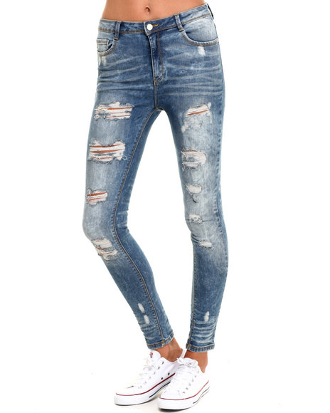 Ur-ID 224308 SOHO BABE - Women Medium Wash Heavy Rips Mid-High Waist Skinny Jean