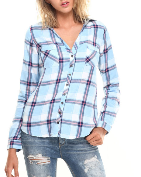 Fashion Lab - Women Light Blue Plaid Button Up Long Sleeve W/ Knit Hood