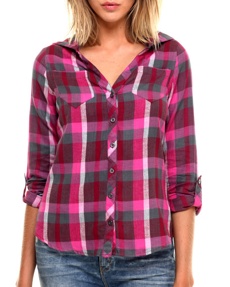 Fashion Lab - Women Dark Pink,Purple Plaid Low V-Neck Button Up W/ Hood