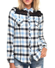 Fashion Lab - Woven Plaid Flannel w/ Front and Back Crochet Lace Detail