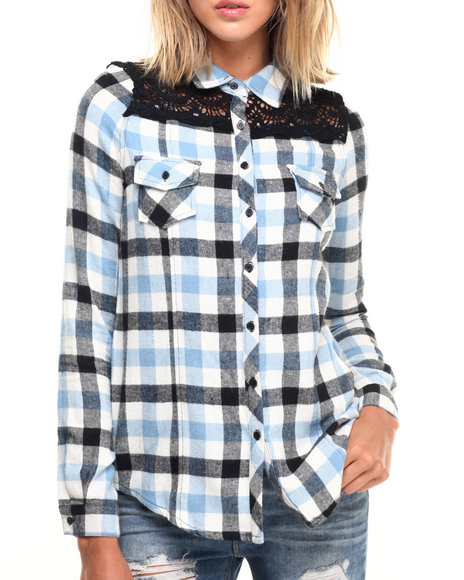 Fashion Lab - Women Blue Woven Plaid Flannel W/ Front And Back Crochet Lace Detail