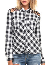 Women - Plaid Long Sleeve Hi Low Hem Button Up