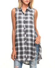 Women - Sleeveless Plaid Button Up w/ Side Slits