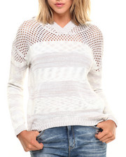 Women - Space Dye Stripe Open Crochet Hi Low Hem Pullover