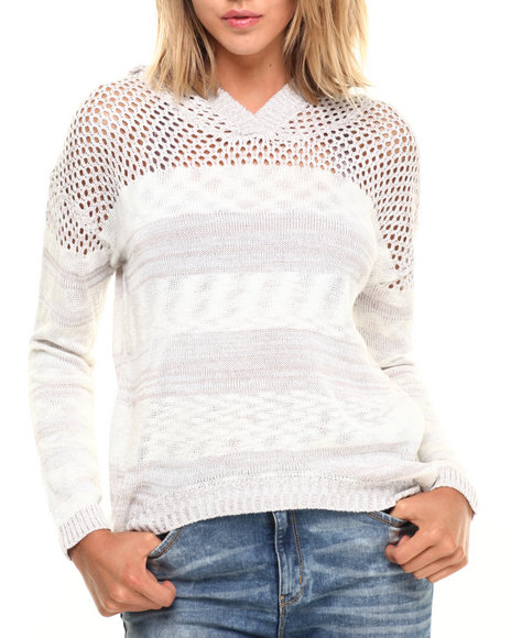 Ur-ID 224282 Fashion Lab - Women Off White,Tan Space Dye Stripe Open Crochet Hi Low Hem Pullover by Fashion Lab