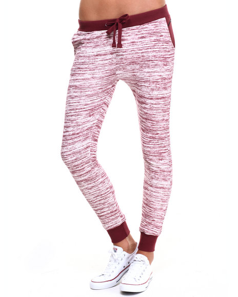 Soho Babe - Women Dark Red Marled French Terry Jogger