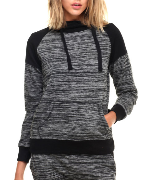 Ur-ID 224307 SOHO BABE - Women Charcoal,Black Marled French Terry L/S Funnel Neck Hoodie by SOHO BABE