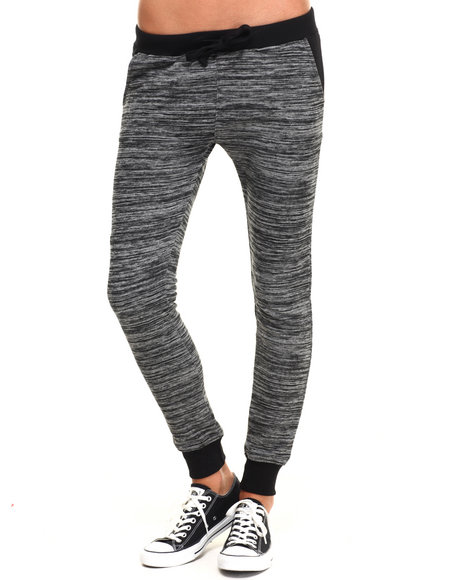 Soho Babe - Women Black Marled French Terry Jogger