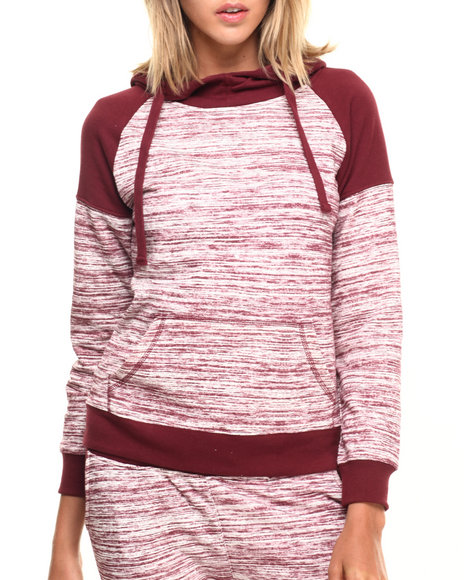 Ur-ID 224324 SOHO BABE - Women Dark Red Marled French Terry L/S Funnel Neck Hoodie by SOHO BABE