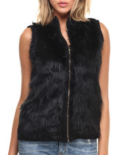 Women - Faux Fur Front Zip Up Vest