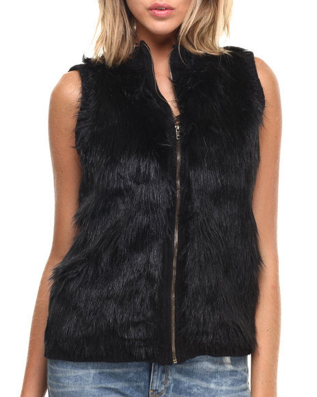 Fashion Lab - Women Black Faux Fur Front Zip Up Vest - $25.99