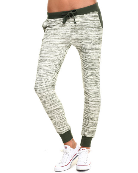 Soho Babe - Women Olive Marled French Terry Jogger