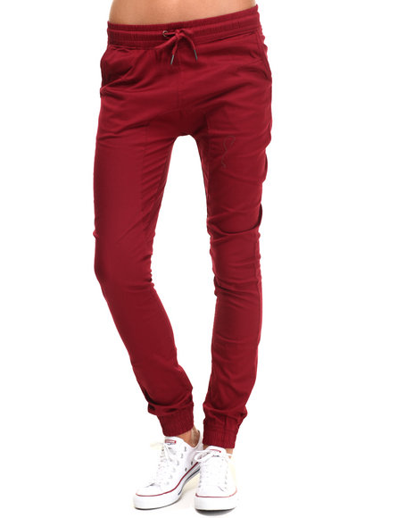 Soho Babe - Women Dark Red Drop Crotch Twill Jogger