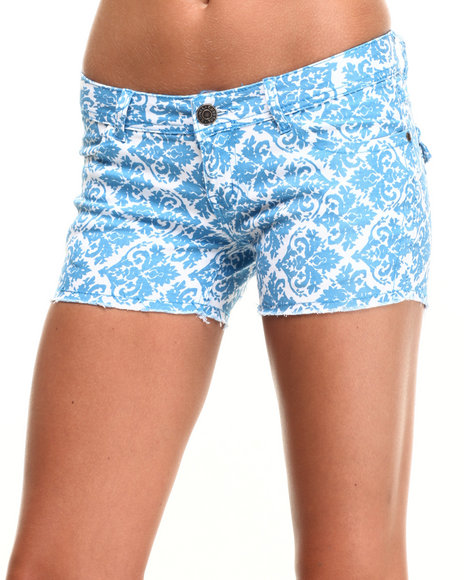 Ur-ID 223941 Basic Essentials - Women Blue All Over Print Shorts