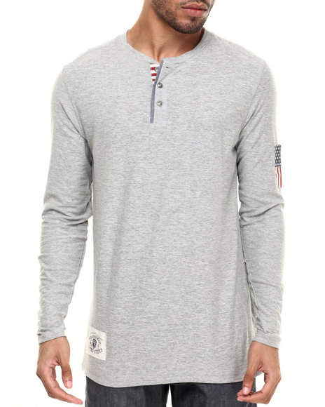 Ur-ID 224272 Buyers Picks - Men Grey Flag Henley