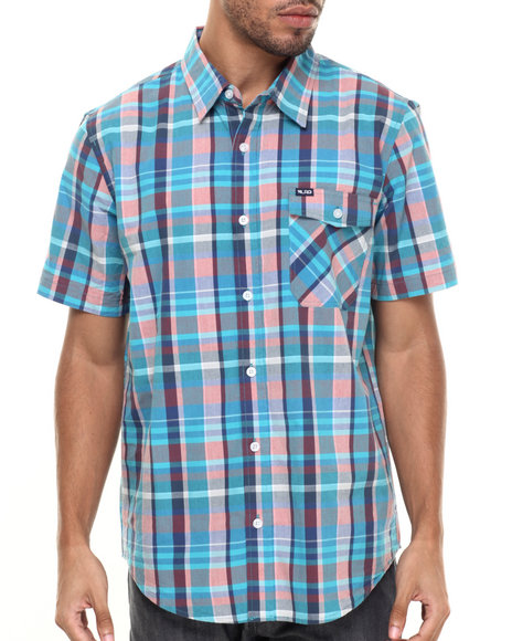 Ur-ID 224303 LRG - Men Blue Rc Plaid S/S Button-Down