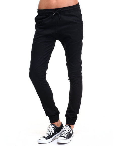 Soho Babe - Women Black Drop Crotch Twill Jogger
