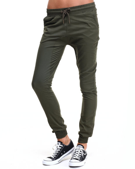 Ur-ID 224341 SOHO BABE - Women Olive Drop Crotch Twill Jogger