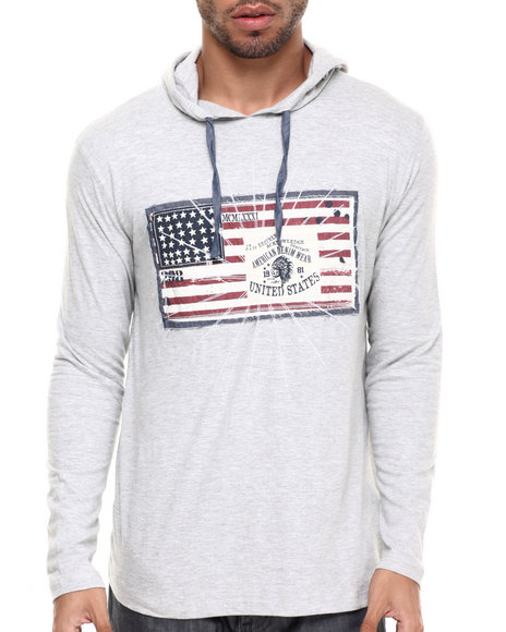 Ur-ID 224347 Buyers Picks - Men Grey Flag Hoodie