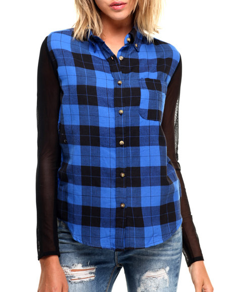 Ur-ID 224301 Fashion Lab - Women Blue Plaid Illusion Mesh Sleeve Hi Low Hem Button Up
