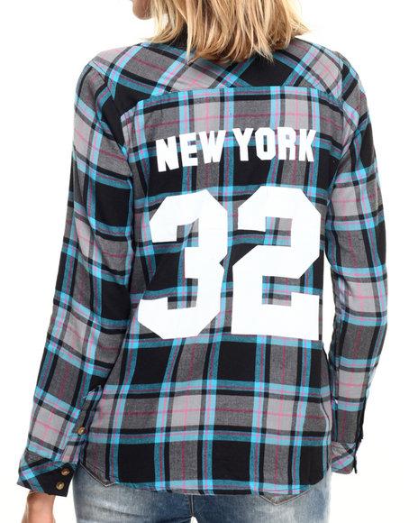 Ur-ID 224305 Fashion Lab - Women Grey,Turquoise Varsity Destination Button Up Flannel
