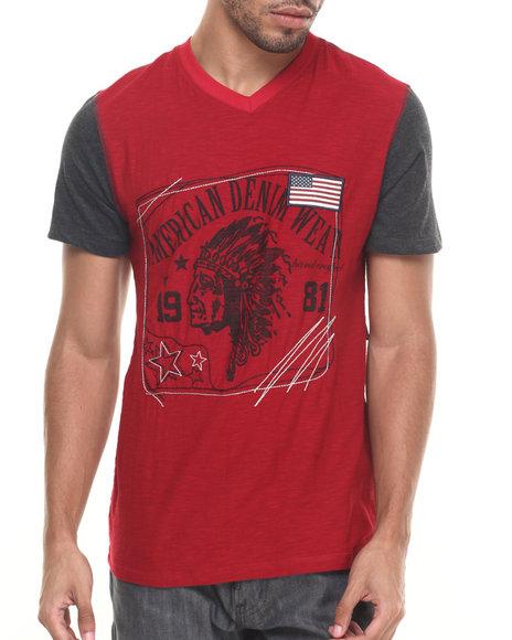 Buyers Picks - Men Dark Red Spirit V-Neck Tee - $10.99