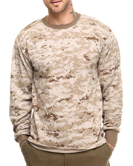 Rothco Men Rothco Long Sleeve Digital Camo T-Shirts Desert Digital Camo Medium