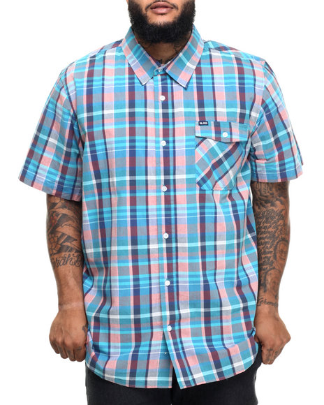 Lrg - Men Blue Rc Plaid S/S Button-Down (B&T)