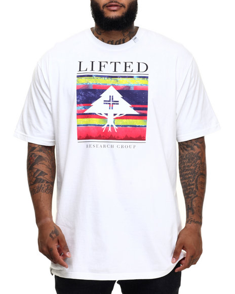 Lrg - Men White Fallen Leaves Stripe Block Up T-Shirt (B&T)