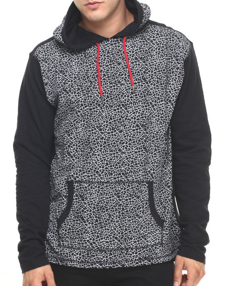 Ur-ID 224432 Buyers Picks - Men Black Crackle Print Slub Jersey Hoodie