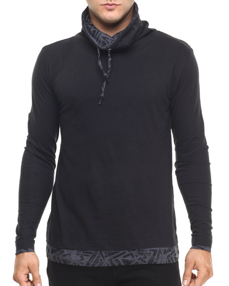 Ur-ID 224434 Buyers Picks - Men Black Funnel Neck Graphite Pullover