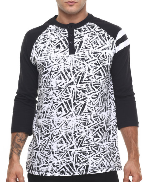 Ur-ID 224437 Buyers Picks - Men Black,White Snare Henley by Buyers Picks
