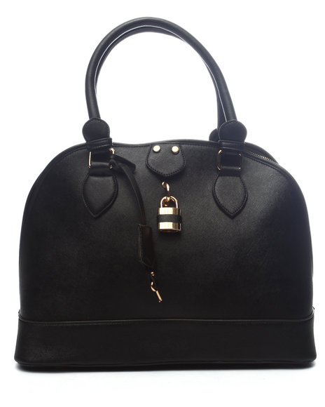 Pink Cosmo Women Pink Haley Classic Lock Dome Satchel Black