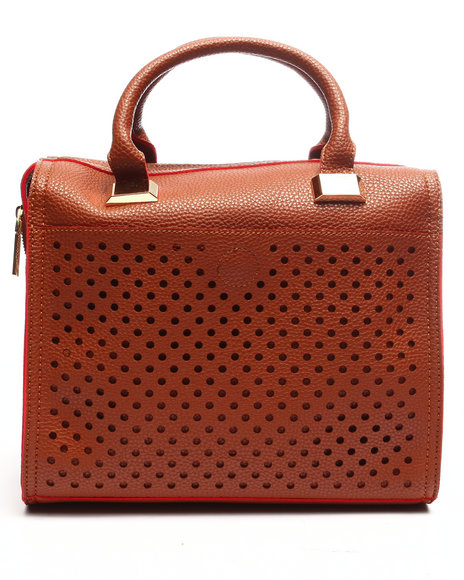 Pink Cosmo Women Pink Haley Perforated Satchel Brown