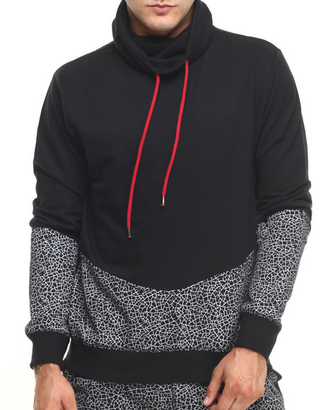 Buyers Picks - Men Black Cut & Sew Crackle Pullover